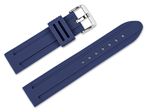 22mm Replacement Rubber Watch Band - Silicone Rubber - Navy Blue Watch Strap