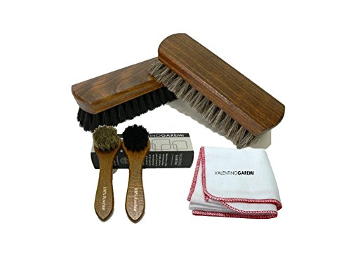 Valentino Garemi Shoe Care Brush Set - 2 Polishing Brushes, Cloth, 2 Applicators Brush - Genuine Horse Hair - Footwear Shine, Polish, Buff and Clean - Made in Germany from Valentino Garemi