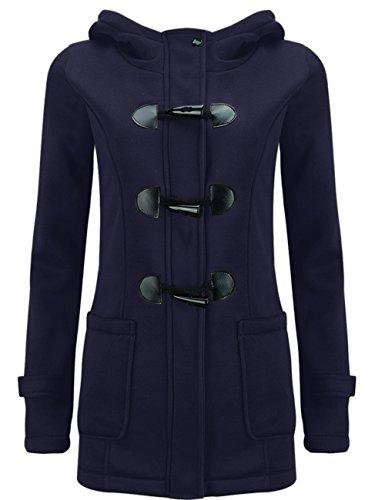 LooBoo Mujer Invierno Abrigo Casual Sudadera con Capucha Chaqueta de Lana Capa Jacket Parka Pullover Pea Coat Armada