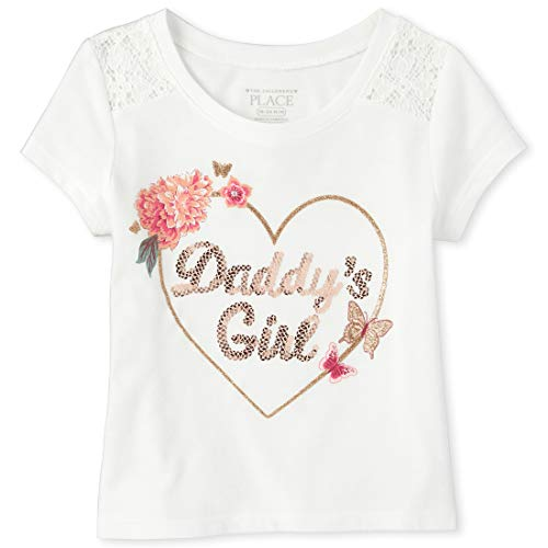 The Children's Place Baby Girls Graphic Short Sleeve Lace T-Shirt, Simplywht, 3T (Best Place For Plain T Shirts)