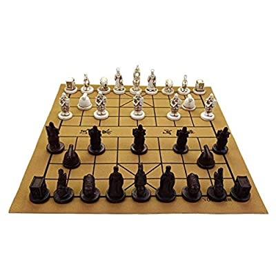 Ireav Chinese Chess Xiangqi Game Set - Resin Handmade Chess Pieces Soft Chessboard Traditional Archaize Retro Chess Board Games