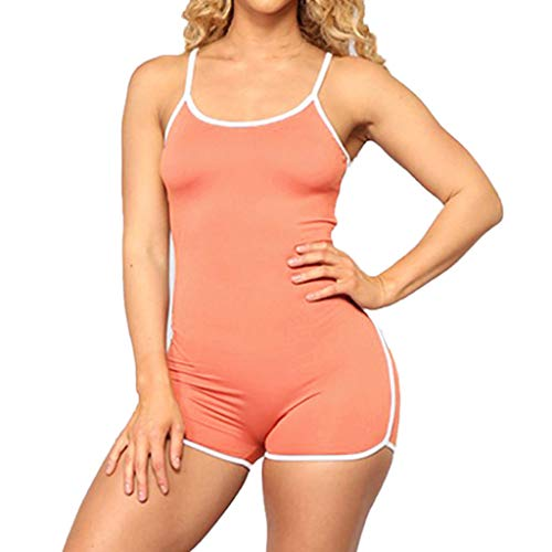 QIQIU Womens Solid Sleeveless Straps Playsuit Sexy Bodycon Sport Slim Fit Halter Short Summer Jumpsuit Playsuit Orange -