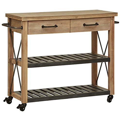 Stone & Beam Rustic Kitchen Island Butcher Block Buffet Cart with Wheels, Natural Wood - Top Stainless Steel Hutch