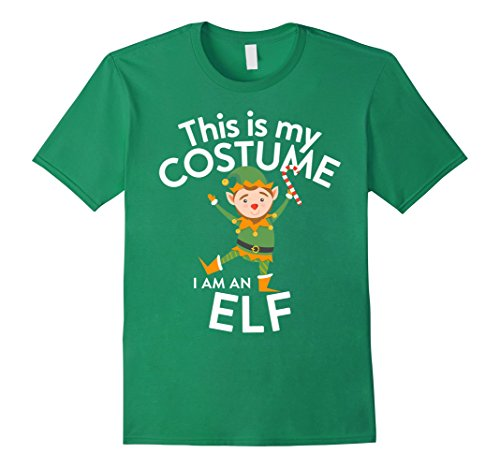 Men's Night Elf Costume (Mens This Is My Costume I'm A Elf T-shirt Christmas lovers Large Kelly Green)
