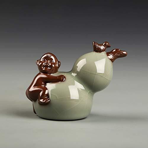 - ZAMTAC BENEWOTER Ceramic Yixing Cute Boy Play on Ice Crack Celadon Gourd Home Decor Figurines Crafts Tea Pet Bonsai Succulents Ornament - (Color: A)
