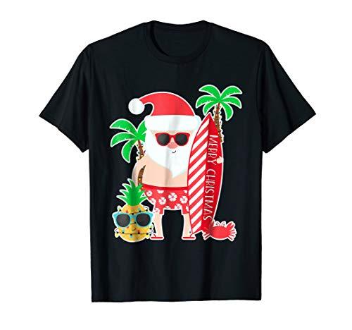 Santa Surfing Hawaiian Gift Shirt for Christmas Family Trip