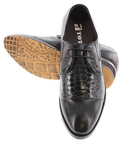 Toto X70152-2.8 Pollici Più Alto - Scarpe Rialzanti Con Altezza Aumentata - Scarpe Eleganti Di Pelle Nera Bicolore