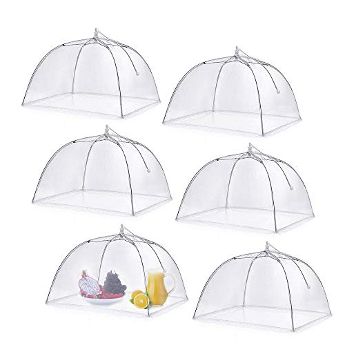 (opamoo Food Cover Tent (6 Pack) Pop-up Mesh Cover Reusable and Collapsible Large Outdoor Mesh Table Cover Umbrella Screen Tents Protectors for Bugs, Parties Picnics, BBQs)