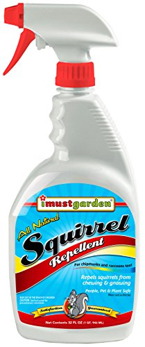 - I Must Garden Squirrel Repellent 32oz: Also Repels Chipmunks and Raccoons - Stops Nesting and Chewing on: Plants, Vehicle Wires, Fruit Trees, Attic, Furniture, Decks, Bulbs