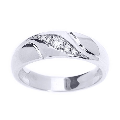 (Men's 925 Sterling Silver 5-Stone Swirl Set Diamond Wedding Band, Size 15.5 )