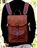 Leather Native 15'' Brown Vintage Leather Backpack Laptop Messenger Bag Rucksack Sling for Men Man Women Summer Sale!
