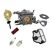 AISEN Pack of Carburetor Carb with Gasket Air Filter Fuel Filter Spark Plug Oil Pump Stop Switch for Husqvarna Chainsaw 36 41 136 136LE 137 137E 141 141LE 142 142E