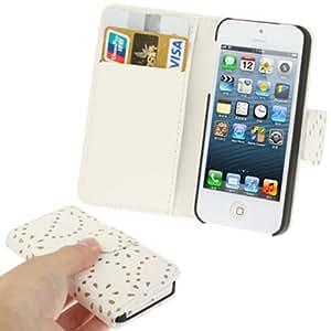 Diamond Flower Texture PU Case Funda Flip Cover para iPhone 5 5S & (White)