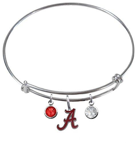 Alabama Crimson Tide Expandable Wire Charm Bracelet Bangle w/ Team Color Crystals