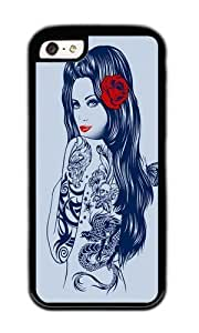 linJUN FENGApple iphone 5/5s Case,WENJORS Adorable Tattoo Lolita Soft Case Protective Shell Cell Phone Cover For Apple iphone 5/5s - TPU Black