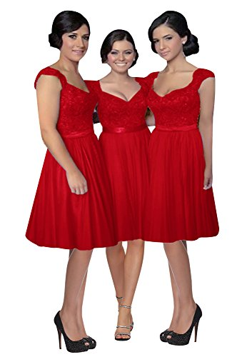 Lovelybride Spitze Party Kurze Brautjungfer Hochzeit Kleider die Mini Kleider für Rot rSrEw0Ox