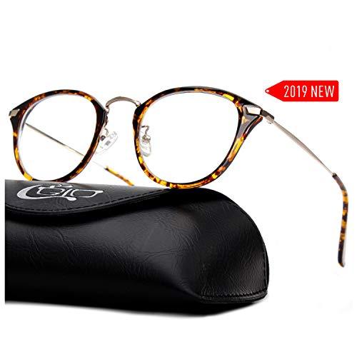 CGID 2019 New Style Fashion Blue Light Blocking Glasses Anti Glare Fatigue Safety Computer Glasses with Premium TR90 Tortoise Metal Frame Transparent Lens -