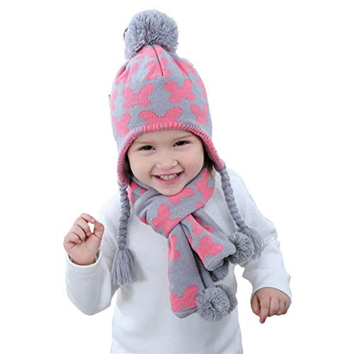 Little Girls Butterfly Beanie Hat and Scarf Set Winter Warm Set for Girls