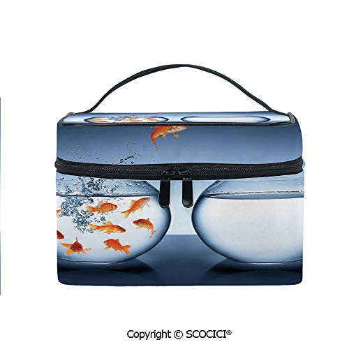 Printed Portable Travel Makeup Cosmetic Bag Little Brave Goldfish Jumping One Fishbowl to Another Courage Improvement Decorative Durable storage bag for Women Girls ()