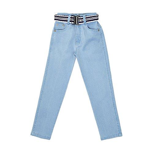 FirstClap Denim Solid Full Length Jeans Pant with Belt for Kids Unisex (Boys & Girls) Trouser