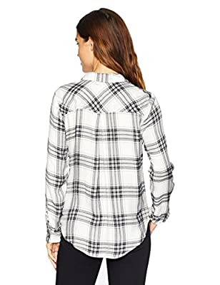 Lucky Brand Women's Boyfriend Plaid Shirt in White Multi