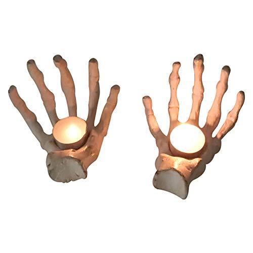 GiftBay Halloween Hand Bone Pair Votive Holders, Cast Aluminum Metal, 6