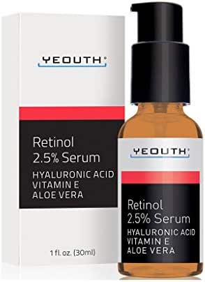 Retinol Serum 2.5% with Hyaluronic Acid, Aloe Vera, Vitamin E - Boost Collagen Production, Reduce Wrinkles, Fine Lines, Even Skin Tone, Age Spots, Sun Spots - 1 fl oz - Yeouth