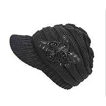 ArRord Women Winter Warm Flower Knit Hat Beanie Snow Ski Caps With Visor