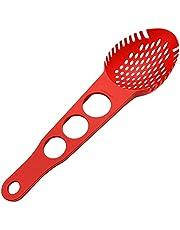 Senmubery Nylon Spaghetti Server Non-Stick Pasta Fork Slotted Spoon Food Strainer with Spaghetti Measure Tool Strainer Ladle