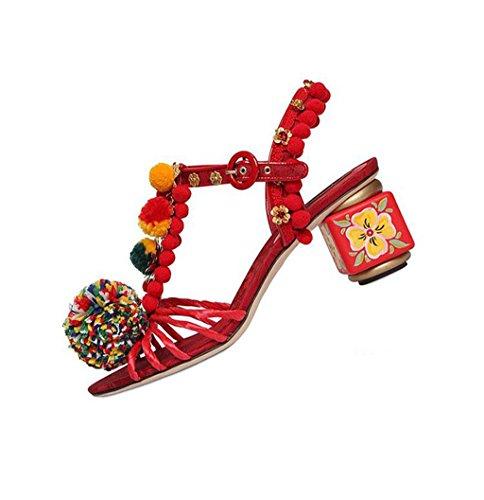 Tacn Sandalias Aguja Fiesta Flores Kaitzen Toe eu35 Rojo Retro Tacones Mujeres Las Peep Moda Zapatos Hebilla Tarde La De Botas dqqOxaZ