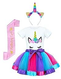 JiaDuo Girls Tutu Skirt with Unicorn Shirt, Headband & Satin Sash