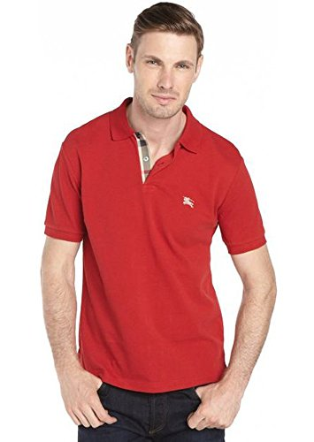 Burberry Brit Mens Short Sleeve Nova Check Placket Polo Shirt (Large, Military - Burberry Men