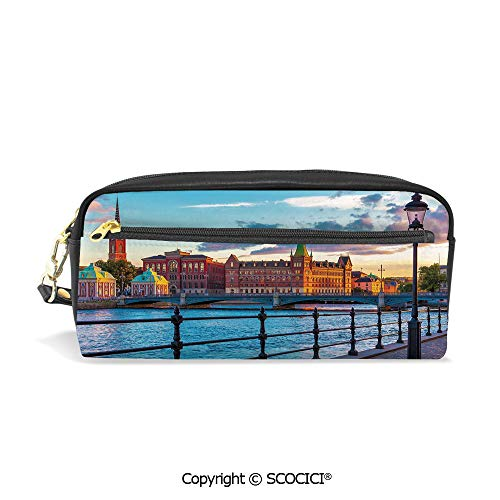 Stockholm Desk Phone - Students PU Pencil Case Pouch Women Purse Wallet Bag Scandinavian Stockholm Old Town Sweden by Lake Gamla Stan View Autumn Day Scenery Waterproof Large Capacity Hand Mini Cosmetic Makeup Bag