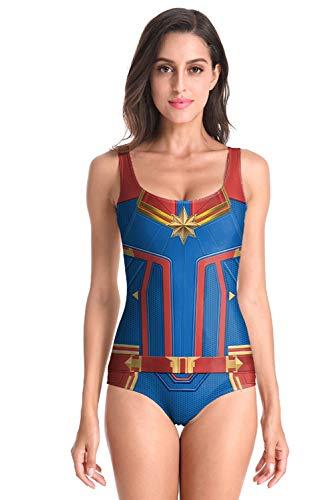 Women's Captain Swimsuit Cosplay Costume Summer Bikini One Piece Swimwear Bathing Suits Blue ()