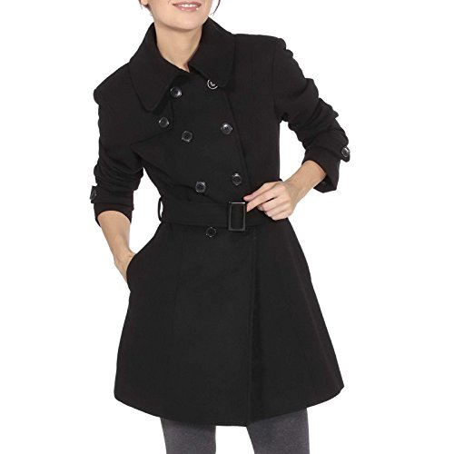 alpine swiss Keira Women's Black Wool Double Breasted Belted Trench Coat Medium (Black Belted Winter Coat)