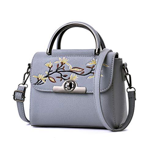 tracolla 22x12x17cm floreale borsa con tracolla F in a famosa a ricamo vintage Borsa pelle 5Cwx7TqH1
