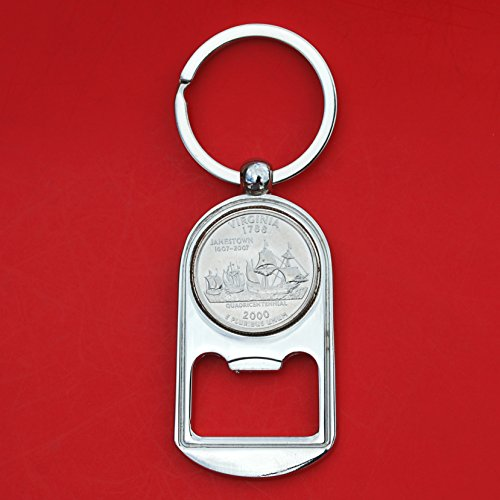 (US 2000 Virginia State Quarter BU Uncirculated Coin Silver Tone Key Chain Ring Bottle Opener NEW)