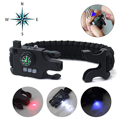 Mgirlm Paracord Bracelet Survival Rechargeable Survival Wirst with LED Flashlight,Compass,Emergency Loud Whistle,Laser Infrared Bracelet for Hiking, Camping, Fishing,Climbing -