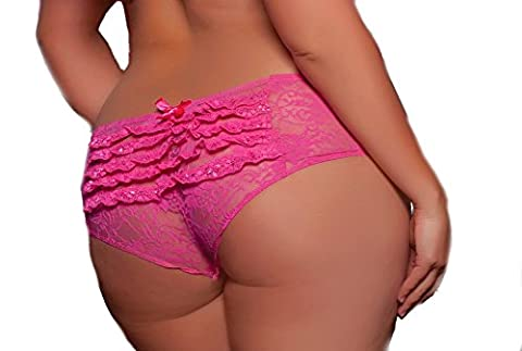 Lacy Line Plus Size Sexy Open Crotch Ruffled Back Floral Lace Panties (3x/4x,Pink) - Lace Up Plus Size Panties