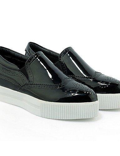 us9 Semicuero Eu42 Cn41 Uk8 Vestido us10 5 White Zapatos Plataforma Eu40 White Cn4 Uk7 De 5 Blanco Casual Creepers Exterior Negro Zq Cn43 Mujer Mocasines z1ZSSwq