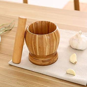 L FreeLeben Pestle Bol de broyage Set Bambou Mortier et Pilon Bol sur Pieds Ail Pot Spice Poivre piquage Moulin Outils Outils de Cuisine
