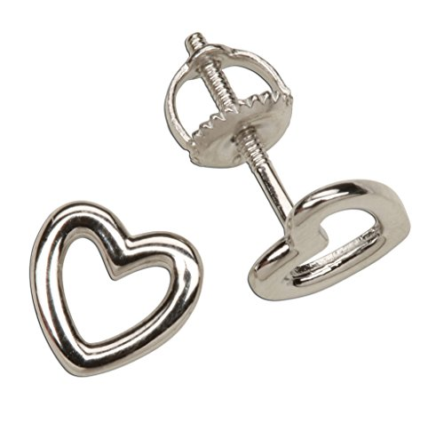 Childrens Sterling Silver Hollow Heart Stud Earrings with Screw Back