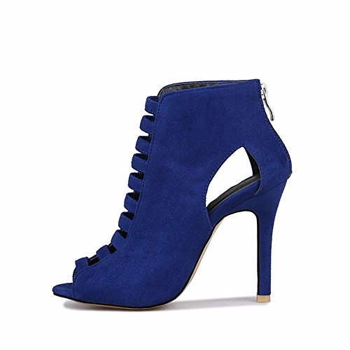 de los tallas pescado blue y boca zapatos de zapatos grandes de sandalias botas botas Unidos mujer gamuza altas de Estados Europa pAXqwBw