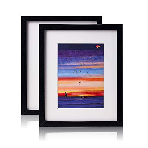 Picture Frames Photo Frame Black - Amistad 8x10 Display Picture Frame Made of Synthetic Wood and High Definition Organic Glass for Wall Mount or Table Top, Set of 2