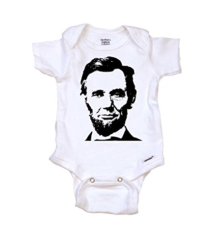 Abraham Lincoln Baby Onesie by Gerber, 0-3 mo, Organic White