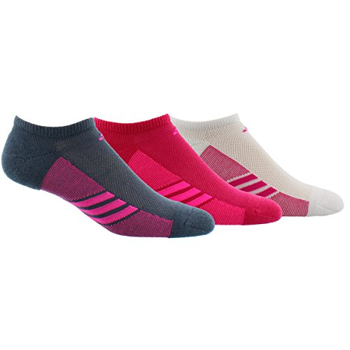adidas Womens Climacool Superlite No Show Socks (3-Pack), Bold Onix/Shock Pink/Bold Pink, Size 5-10