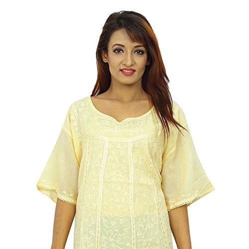 India mujeres de Sundress Boho Top Hippie del desgaste del verano de la túnica casual Beige