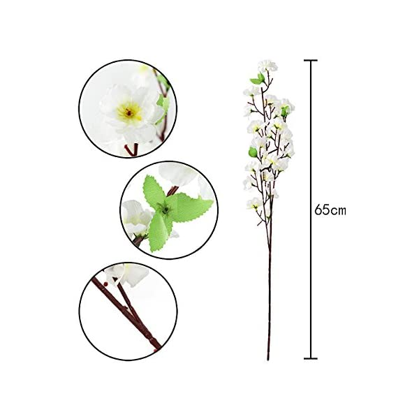 10Pcs Spring Peach Blossom Cherry Plum Bouquet Branch Silk Flower,Artificial Flowers Fake Flower for Wedding Home Office Party Hotel Yard Decoration