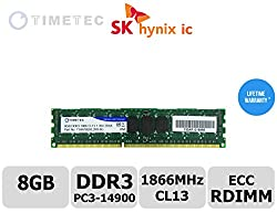 Timetec Hynix 8GB DDR3 1866MHz PC3-14900 Registered ECC 1.5V CL13 2Rx8 Dual Rank 240 Pin RDIMM Server Memory Ram Module Upgrade Upgrade (Server Only, Not for Desktop/Laptop) (8GB)
