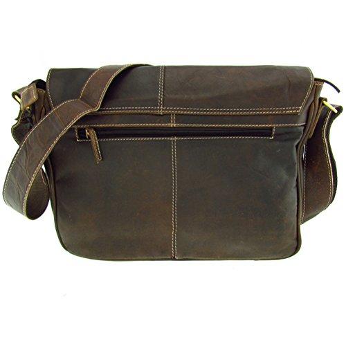 Grandes–Maletín de piel de búfalo de agua para profesores Vintage en 3tamaños a elegir, marrón (marrón) - T-1686-1688